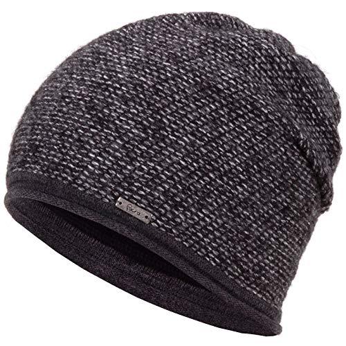 Faera Wintermütze warm gefütterte Winter-Mütze Fleece-Futter Winter Strick-Mütze Beanie-Mütze Damen Herren One-Size, Farbe:Anthrazit