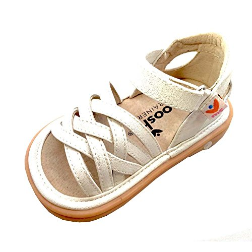 Mooshu Trainers-Trudy Strappy Girls Squeaky Sandals 3 Baby- 9 Toddler (5T, White)
