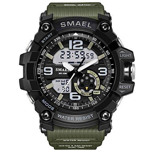 Men's Sports Digital Analog Stylish Watch Dual Electronic Quartz Movement Backlight with Outdoor Waterproof