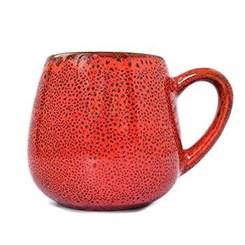 Pottery coffee mug  Drops cappuccino  14.5 fl oz  430ml   Red