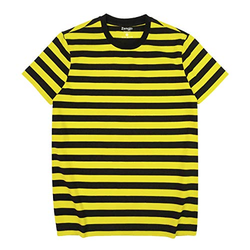 Zengjo Mens Striped T Shirt(XXL,Black&Yellow Wide)