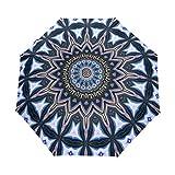 QMIN Paraguas plegable automático indio tribal mandala floral resistente al viento, protección UV, paraguas compacto para lluvia, para mujeres, hombres y niñas