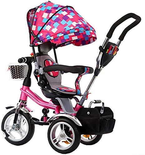 Cochecito de bebé Cochecito de cochecito cochecito de cochecito de cochecito de cochecito 4 en 1 Cochecito de triciclo de triciclo para niños Bicicleta plegable con 360°Asiento giratorio y arnés de se