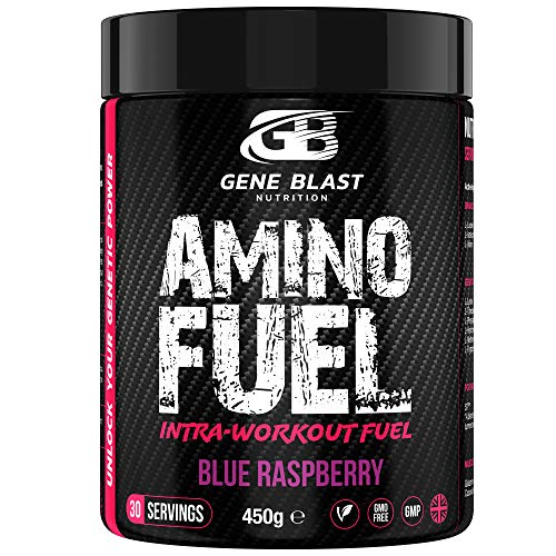 GENE BLAST Amino Fuel - Intra-Workout BCAA Supplement with 9 Essential Amino Acids, Coconut Water Powder, Glutamine, S7 Nitric Oxide Booster - Muscle Growth & Exercise Support 450 g (Blue Raspberry