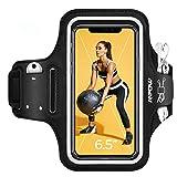 Mpow Sportarmband Handy bis zu 6, 5 Zoll für iPhone SE 2020/11/XR/HUAWEI P30 lite/Galaxy S20/A20e, Schweißfest Sportarmband mit Reflektivband, Kopfhörer- & Schlüssel-Schlitz, für Joggen, Radfahren