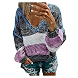 CHMORA Donna top, Corto Multicolore Cuciture A Righe Scollo a V Casual Maglia Maglione Blu L