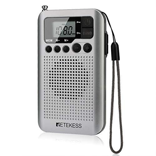 Retekess TR106 Audífonos portátiles, radios de bolsillo AM FM, radio digital con batería AAA, reloj de apoyo, temporizador de sueño y estéreo FM para caminar gimnasio (plata)