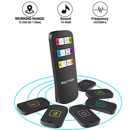 Key Finder, Soulcker Wireless Key Finder RF Item Locator, Item Tracker Support Remote Control, Key Tracker Pet Tracker Wallet Tracker, Quickly Find Your Lost Items