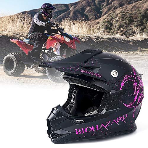 Unisex-Adult Off-Road Helmet, Orthrus Motocross ATV Dirt Bike Helmet for Men Women, DOT Approved (Matte Pink, XL)