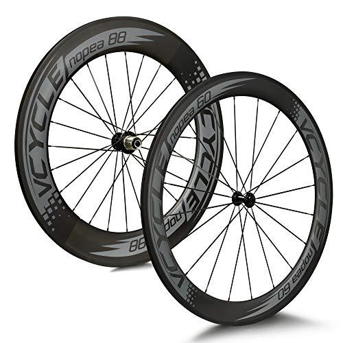 VCYCLE Nopea 700C Carretera Bicicleta Carbono Juego de Ruedas Remachador Delantera 60mm Trasero 88mm Shimano o Sram 8/9/10/11 Velocidades