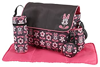 Disney Minnie Mouse Multi Piece Diaper Bag with Flap Floral Print Gray/Pink