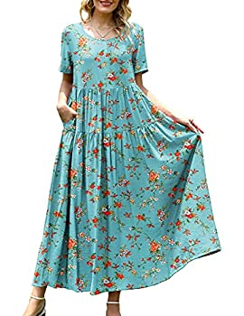 YESNO Women Casual Loose Bohemian Floral Dress with Pockets Short Sleeve Long Maxi Summer Beach Swing Dress  L EJF CR14