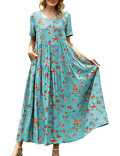 YESNO Women Casual Loose Bohemian Floral Dress with Pockets Short Sleeve Long Maxi Summer Beach Swing Dress (L EJF CR14)