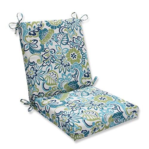 "Pillow Perfect Outdoor/Indoor Zoe Mallard Square Corner Chair Cushion, 36.5"" x 18"", Blue"