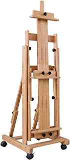 YXSDD Beech Wood Horizontal and Vertical Dual Use Traditional Chinese Painting Oil Easel, Landing Solid Wood Lift Fold Pro...