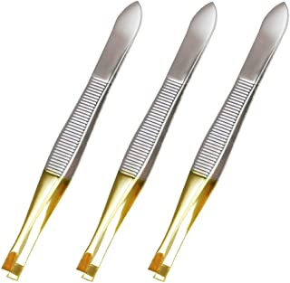 Luxxii (3 Pack) Gold Tone Flat Tweezers - Stainless Steel Flat Tweezers Hair Plucker for Hair and Eyebrows Personal Care (E_GOLD TONE)