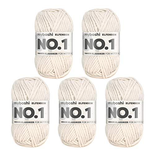 myboshi No.1-Wolle zum Häkeln und Stricken, mit Merinowolle, hochwertiges Schnellstrickgarn, Pflegeleichte, langlebige Mützenwolle, Mulesing-frei, 5 knl x 50gr, Ll 55m Elfenbein