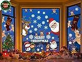 Yuson Girl Lote Pegatinas Navidad Ventana Reutilizable Reno Santa Claus Copos Nieve Decoracion Navidad Exterior Interior Murales Decorativos Pegatinas Pared Puerta para Tienda Casa