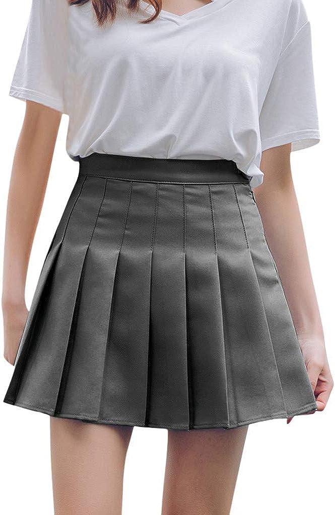 Xinantime Women Girls Tennis Pleated Mini Skirt High Waist Plain Uniform School A-line Skirt Ladies Solid Color Dress