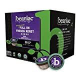 beaniac Organic Full On French Roast | Dark Roast, Single Serve Coffee K Cup Pods | Rainforest Alliance Certified | 30 Compostable, Plant-Based Coffee Pods | Keurig Brewer Compatible
