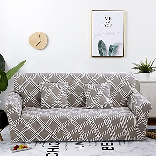 WXQY Funda de sofá elástica geométrica para Sala de Estar Moderna Funda de sofá a Prueba de Polvo de explosión Completa Silla Funda de sofá en Forma de L A23 2 plazas