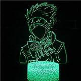 Naruto Cartoon Anime Sasuke Kakashi assassin 3D Luz de noche Lámpara de mesa de ilusión creativa LED Decoración de regalo para niños