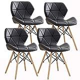 Silla de comedor moderna Ellexir de madera con cómodo asiento acolchado para hogar, oficina o salón