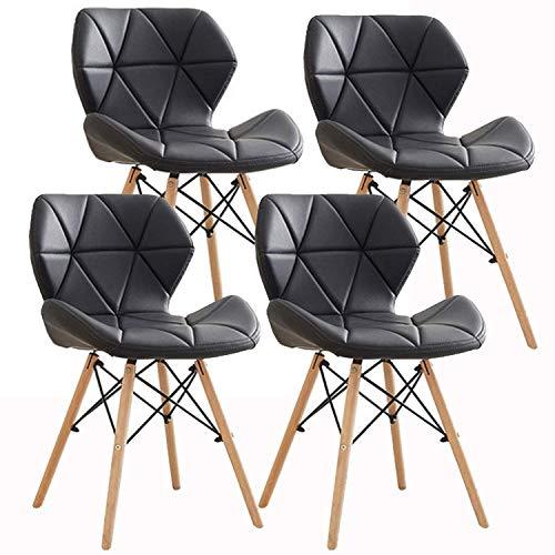 Silla de comedor moderna Ellexir de madera con cómodo asiento acolchado para hogar, oficina o saló
