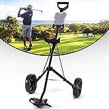 HHTX Chariot de Golf, Chariot de Golf à 2 Roues, Chariot de Golf à 2 Roues, Hauteur réglable, 2 Roues, à Cadre en Acier de Golf, Chariot Porte-gobelet, Chariot pivotant (Noir)