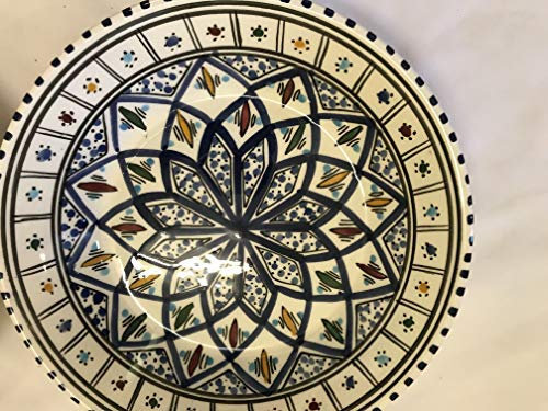 De Túnez de cerámica de diseño oriental plato hondo platos de ensalada platos de pasta azul 22 cm plato de frutero de cuenco y plato de reloj de Marruecos