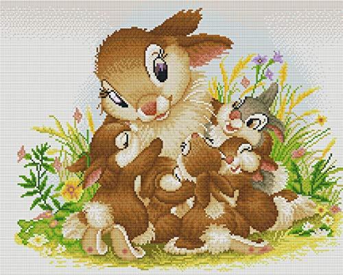 Abillyn Kit de punto de cruz bordado familia de conejo estampado con patrón impreso Kit de iniciación (conejo) ⭐