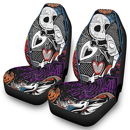 LAFROABC Before Christmas Nightmare Jack-Sally Seat Covers Automotive Interior Accessories Scratch-Proof for Car SUV & Truck White OneSize