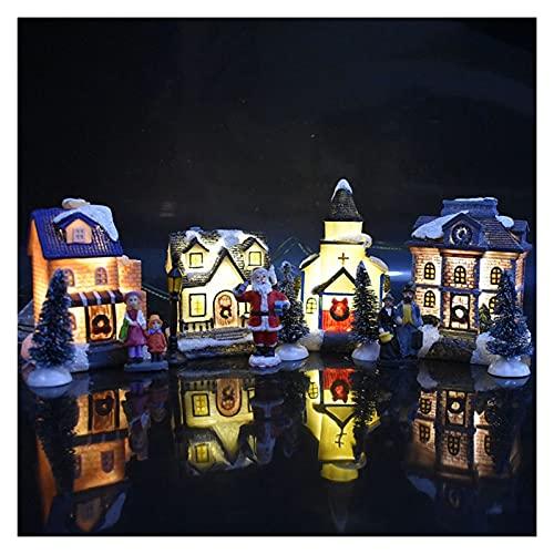 Decorazione Natalizia 10pcs / Set Christmas Santa Claus Snow House, Set di Scena iny Luminoso GUIDATO Illumina Le Figurine delle Decorazioni del Villaggio degli Alberi di Natale