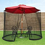Mosquito de Sombrilla de jardín Pantalla de malla de la red de la parasol de jardín con la abertura de la cremallera y el tubo de agua en la base para mantener en su lugar Para Acampar en el Jardín al