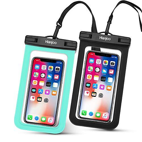 Hianjoo 2 Piezas Funda Móvil Impermeable Estuche IPX8 para Teléfono de 6,5 Pulgadas, Bolso Seco Bajo el Agua con Cordón Compatible con iPhone XS XR 8 7 6 Plus [Negro + Verde]