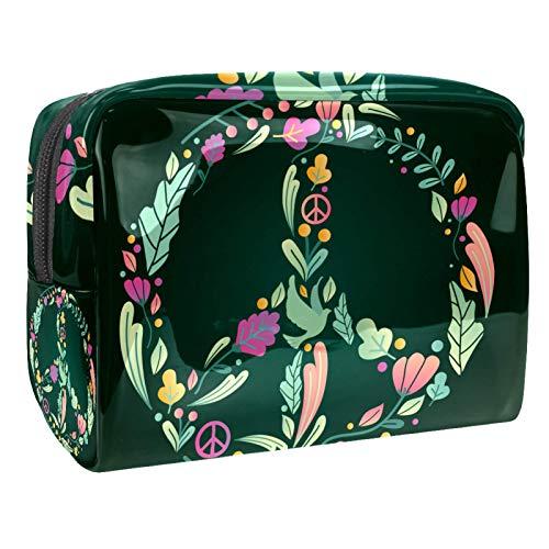 Bolso Cosmético Hoja de Amor y Paz Bolso de Maquillaje Bolsa de Almacenamiento portátil Estuche de Maquillaje con asa Makeup Toiletry Bag 18.5x7.5x13cm