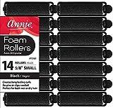 Annie- Salon Style Small Foam Hair Rollers - (5/8') Black - (14) Piece Set - Soft Heat-less Hair...