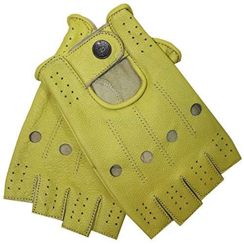 German Wear Driving Halbfinger Fingerlose Autofahrer-Handschuhe Lederhandschuhe, 10=XL, Gelb