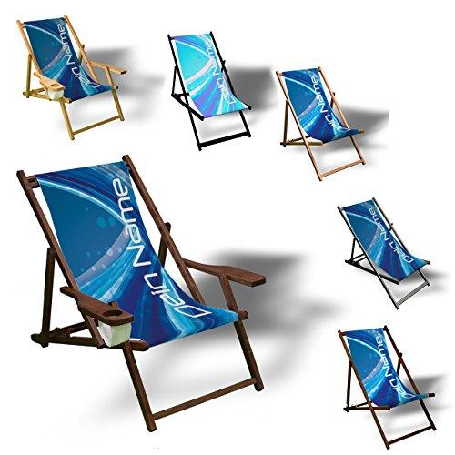 Printalio - Wunschtext - Blue Abstract - Liegestuhl Bedruckt Balkon Garten Sonnenliege Relax Holz Terrasse | mit Armlehne, Natur