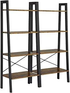 Yaheetech 4-Shelf Shelving Unit Storage Rack Bookshelf Display Rack Ladder Shelf Utility Rack Garage Shelves, 54.1 Inches Bookcase, 2 Pack