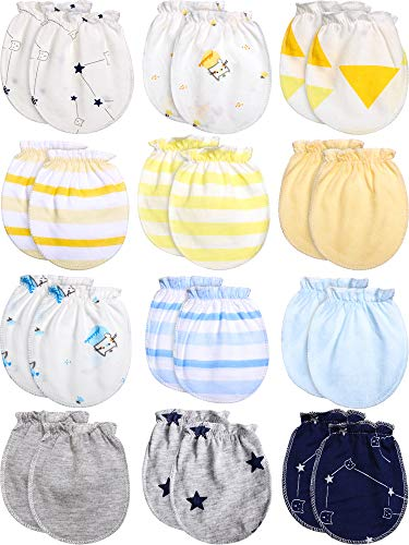 12 Pairs Newborn Baby Gloves Infant Cotton Gloves Unisex Toddler No Scratch Mittens for 0-6 Months Baby Boys and Girls (Cute Style)