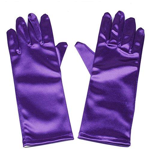 Niños formal largo dedo guantes de saten elastico, Morado