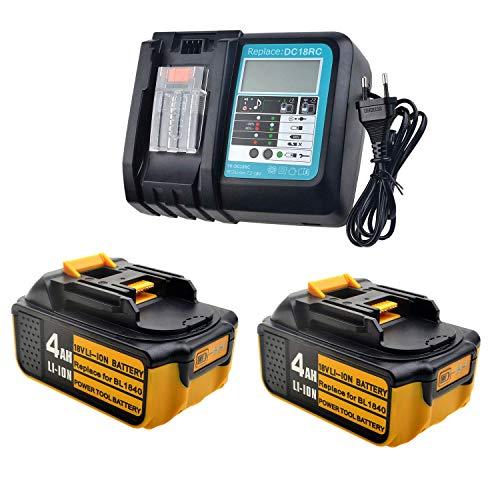 2 Stück 18V 4,0Ah Ah Ersatz-akku mit LED 3A Ladegerät für Makita radio DMR111 DMR112 Baustellenradio BMR100~BMR110 BMR114 BMR115 Batterie