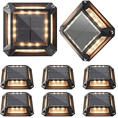 Outdoor Driveway Lights 8-Pack JACKYLED Solar Powered Dock Lights with 1200mAh Battery IP68 Waterproof Solar Road Marker Lights LED Deck Lighting for Boat Dock Step Pathway Runway (Warm White)