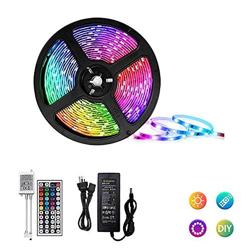 Striscia LED, 5m RGB Luci LED Colorate, Nastri LED con Controller,Striscia luminosa a LED Strip LED RGB Adesive per TV, Decorazioni, Cucina, Bar, Festa