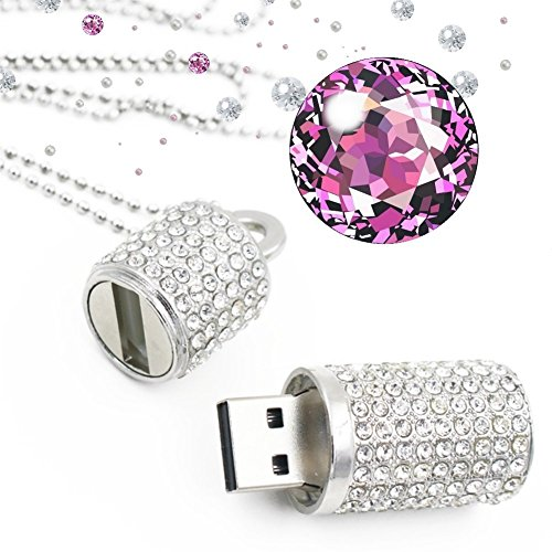 Shooo Chiavetta USB,Bling Rhinestone Diamond Crystal Glitter Rossetto Case Shining Jewelry Collana,32GB,Pure Argento