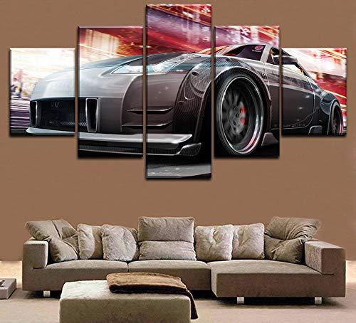 Yywife leinwandbilder XXL 5 teilig Tuning Auto Poster Moderne Home Wand Dekorative Leinwand Modulare Bild Kunst HD Drucken Malerei Leinwand Kunstwerke