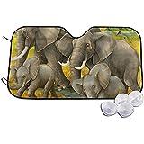 Not Applicable Protectora Parasol De Coche,Safari Elefantes Parabrisas De Vehículos Prácticos Sombrillas 130 * 70cm