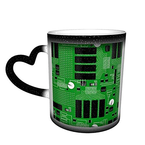 Oaieltj Taza cambiante de calor, placa de circuito verde personalizada taza de café sensible al calor taza de té de leche tazas de café mágico tazas de corte