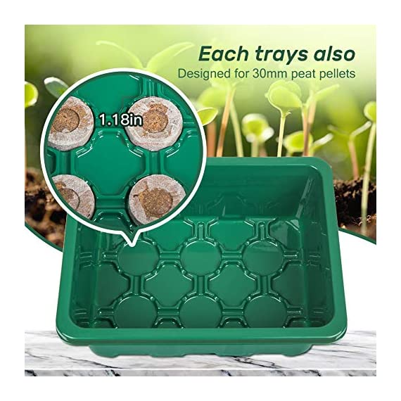 5-Pack Seed Trays Seedling Starter Tray,Humidity Adjustable Plant Starter Kit with Dome and Base Greenhouse Grow Trays… 5 【Keep an eye on your plant】: The only design in the market- High quality clear plastic trays of this seed grow kit make it easier to observe your plants without interrupting the process. 【Total control】: Adjustable vents of this seed trays allow you to regulate the temperature and humidity of your seedling environment, so you have total control over the germination process. 【Perfect for the heat mat】: With its excellent resistance to high and low temperature, these seedling trays are strong enough to be used on a heat mat and no-worry melting.